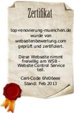 Zertifizierung von Top Renovierung München Januar 2013